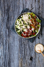 Silver Blue Reclaimed Wood Photography Backdrop 2 ft x 3 ft board | 3 mm thick with a salad on a plate