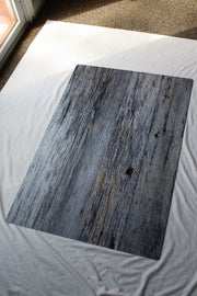 Silver Blue Reclaimed Wood Photography Backdrop 2 ft x 3 ft board | 3 mm thick behind the scenes