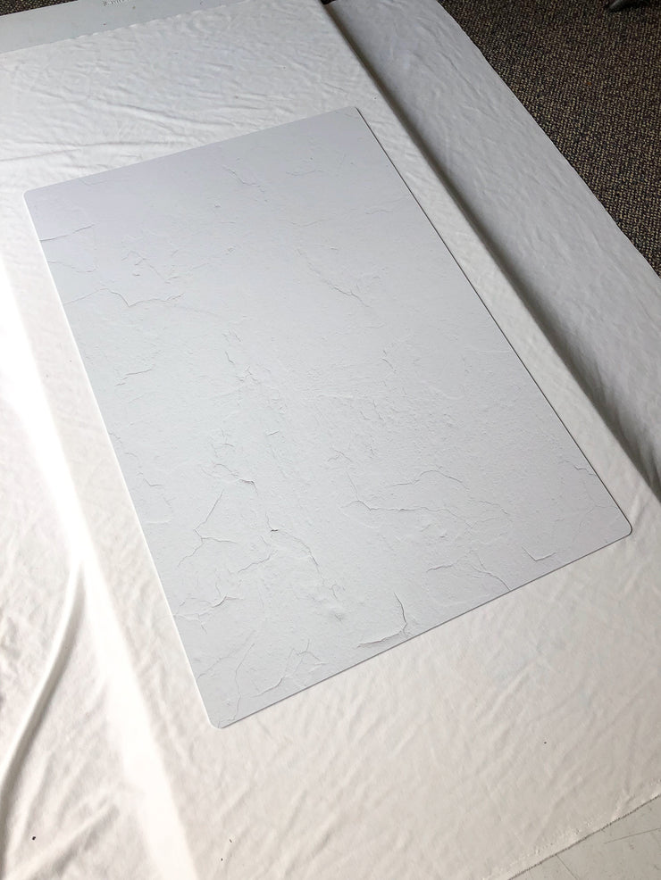 Simple White Textured Photography Backdrop 2 ft x 3 ft board behind the scenes