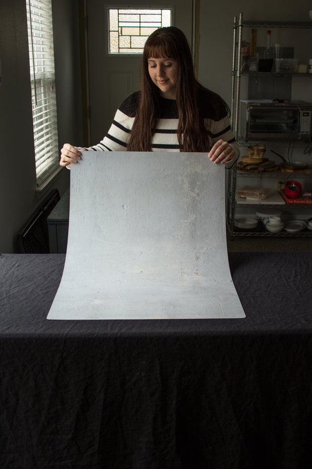 Super-Thin & Pliable Soft Concrete Photography Backdrop Board 2 ft x 3 ft, Lightweight, Moisture & Stain-Resistant behind the scenes