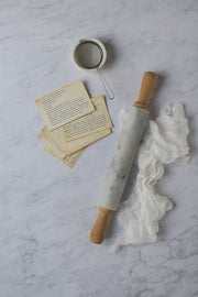 Subtle Gray Marble Backdrop Board for Photography 2 ft x 3ft size with a rolling pin and recipe cards