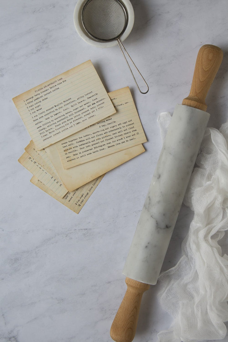 Subtle Gray Marble Backdrop Board for Photography 2 ft x 3ft board with a marble rolling pin and cheesecloth