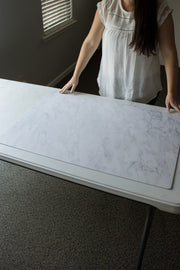 Subtle Gray Marble Photography Backdrop 2 ft x 3ft board behind the scenes