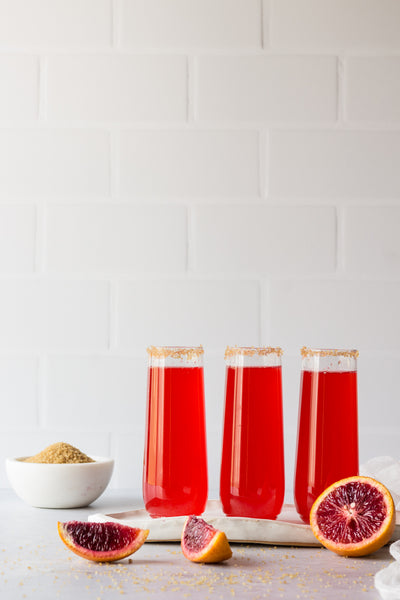 Subway Tile with White Grout Photography Backdrop  with red drinks and blood oranges