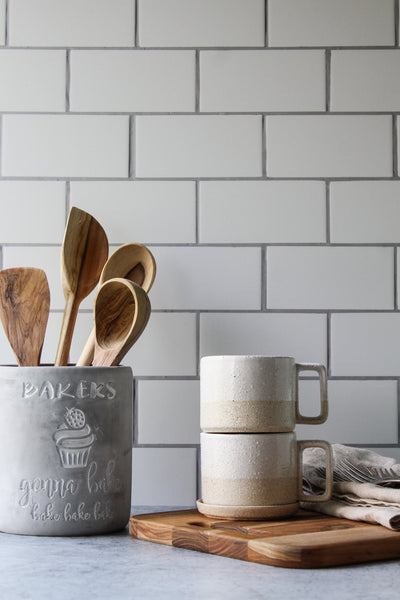 The Most Realistic Subway Tile Photography Backdrop 3ft x 2 ft | 3 mm thick with coffee cups and wooden spoons