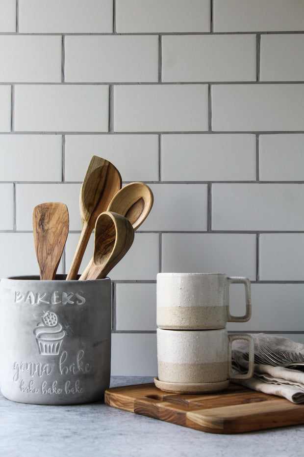 The Most Realistic Subway Tile Photography Backdrop 3ft x 2 ft | 3 mm thick with wooden spoons and coffee cups