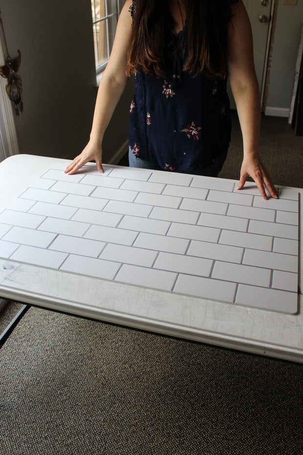 The Most Realistic Subway Tile Photography Backdrop 3ft x 2 ft | 3 mm thick behind the scenes