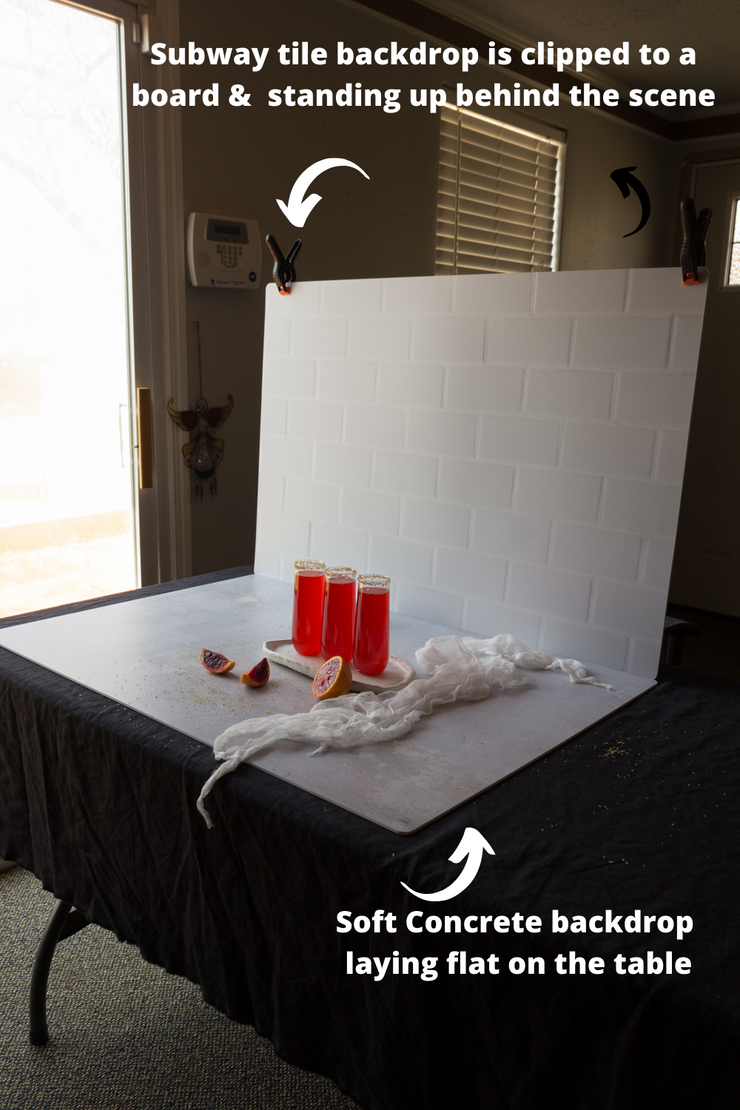 Super-Thin & Pliable Subway Tile with White Grout Photography setup with glasses of red soda