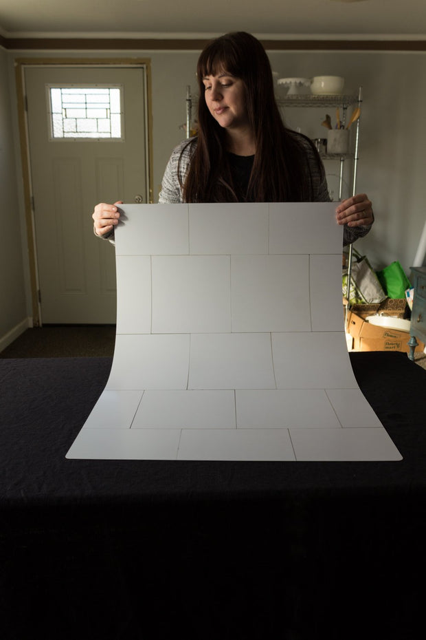 Super-Thin & Pliable Creamy White Tile Replica Photography Backdrop behind the scenes