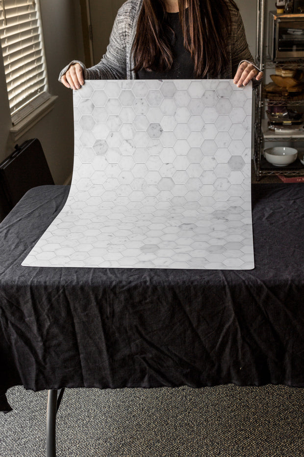 Super-Thin Marble Hexagon Tile Replica Photography Backdrop behind the scenes