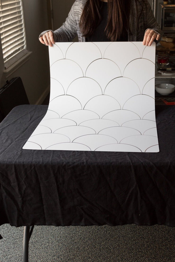 Super-Thin & Pliable Scalloped Tiles photography backdrop behind the scenes