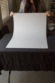 Super-Thin & Pliable Subway Tile with White Grout Photography Backdrop behind the scenes