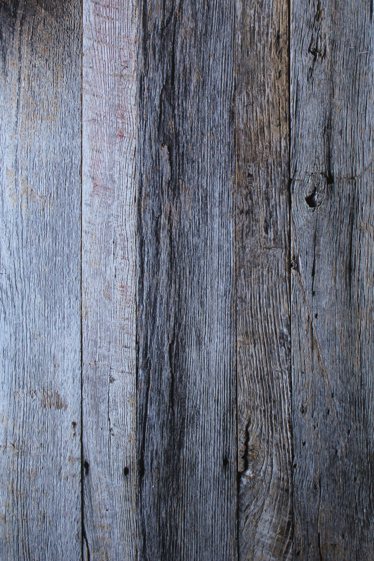 Super-Thin & Pliable White & Silver Gray Blue Reclaimed Wood Replica Photography Backdrop 2 ft x 3 ft, Lightweight, Moisture & Stain-Resistant