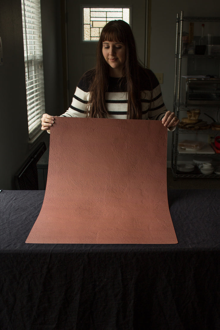 Super-Thin & Pliable Terra Cotta Photography Backdrop 2 ft x 3ft, Lightweight, Moisture & Stain-Resistant behind the scenes