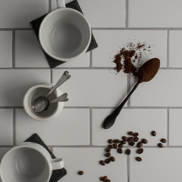 20-inch x 20-inch The Most Realistic Subway Tile Photography Backdrop 3 mm thick Physical Board, Lightweight, Moisture & Stain-Resistant with coffee grinds and cups