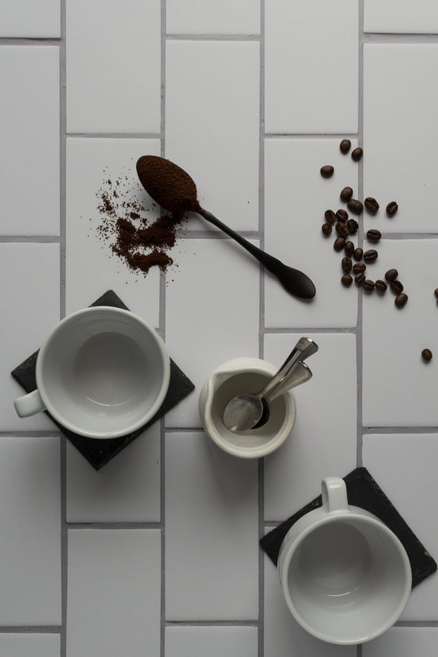 20-inch x 20-inch The Most Realistic Subway Tile Photography Backdrop 3 mm thick Physical Board, Lightweight, Moisture & Stain-Resistant with coffee cups, coffee beans and coffee grinds