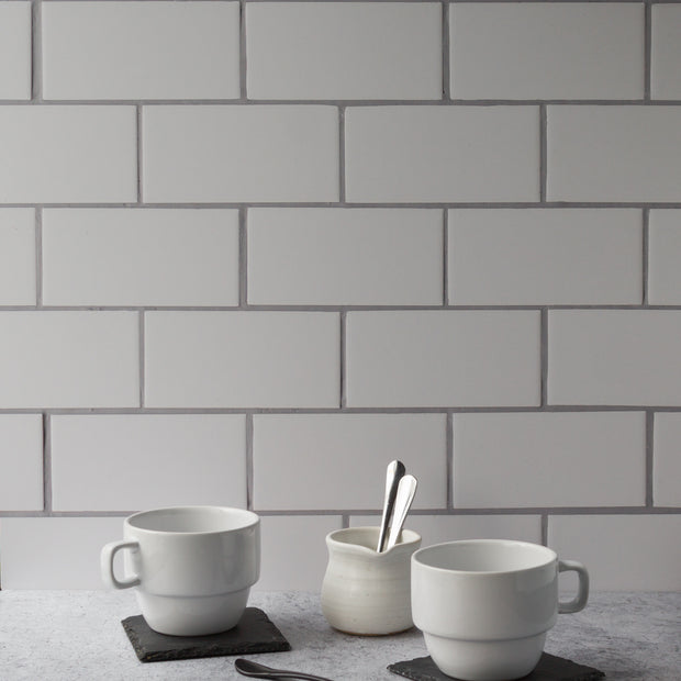 20-inch x 20-inch The Most Realistic Subway Tile Photography Backdrop 3 mm thick Physical Board, Lightweight, Moisture & Stain-Resistant with coffee cups