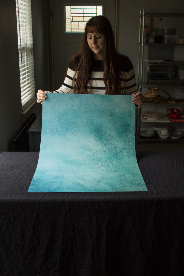 Super-Thin & Pliable Turquoise Blue Green Painted Photography Backdrop 2 ft x 3 ft, Lightweight, Moisture & Stain-Resistant behind the scenes