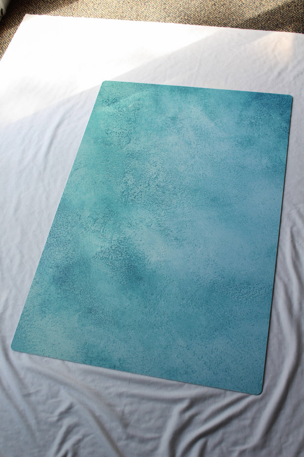 Turquoise Blue Green Painted Photography Backdrop 2 ft x 3 ft board 3 mm thick behind the scenes