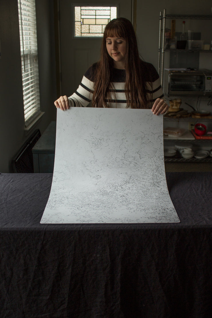 Super-Thin & Pliable White Plaster Photography Backdrop 2 ft x 3 ft, Lightweight, Moisture & Stain-Resistant behind the scenes