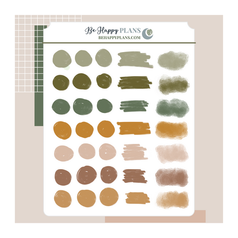 Earthy Paint Swatches Stickers