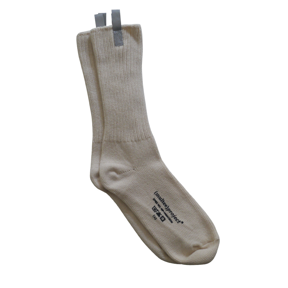 Reflective Organic Crew Socks | Cream