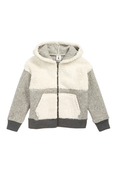 Stem Shaggy Colorblock Fleece Hoodie (White and Grey)