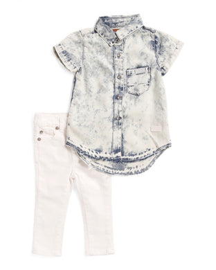7 For All Mankind Bleached Button Up Shirt & Pant Set