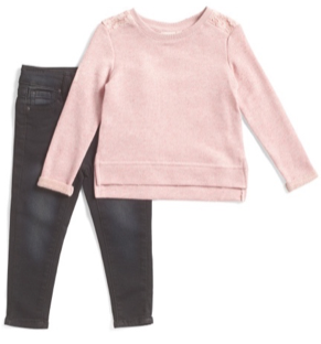 AG 2 Piece Pink Sweatshirt and Black Jean Set