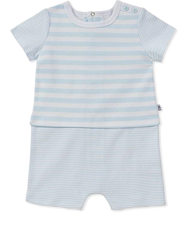 Absorba Light Blue Striped Romper