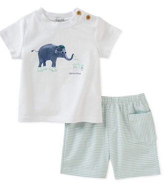 Absorba 2 Piece Green Seersucker Short and Tee Set