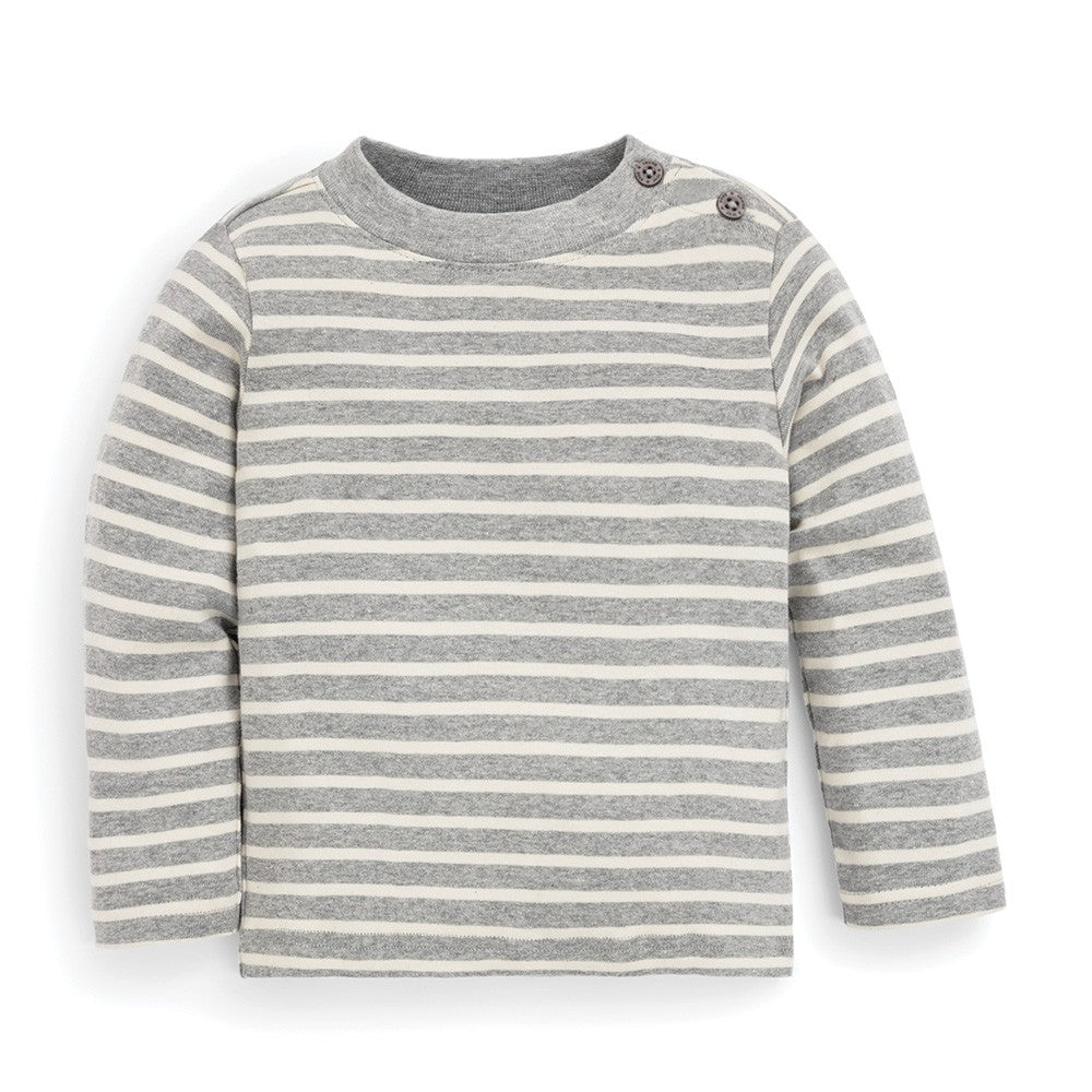 JoJo Maman Bebe Grey Breton Stripe Long Sleeve Top