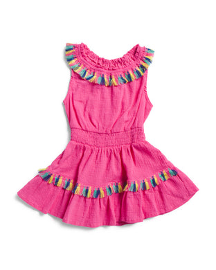 Flapdoodles Toddler Girls Tassel Cover-Up Dress