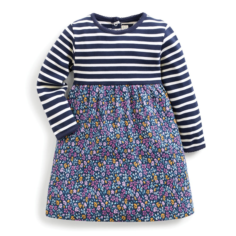 Jojo Maman Bebe Navy Floral and Stripe Classic Dress