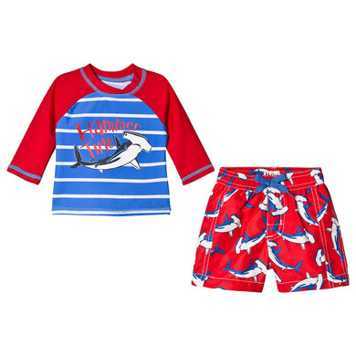 Hatley Rashguard and Swimsuit in Looping Hammerheads (2 piece set)