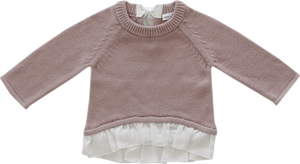 Jamie Kay Frill Bow Knit Rosy Sweater