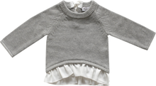 Load image into Gallery viewer, Jamie Kay Frill Bow Knit Light Grey Marle Sweater