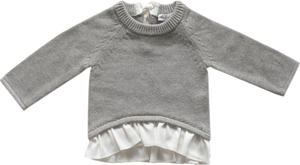Jamie Kay Frill Bow Knit Light Grey Marle Sweater