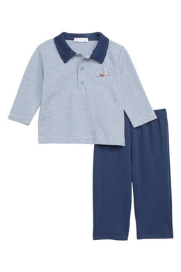Citizen Kidette Kissy Kissy Polo Puppy Long-Sleeve Shirt & Pants Set
