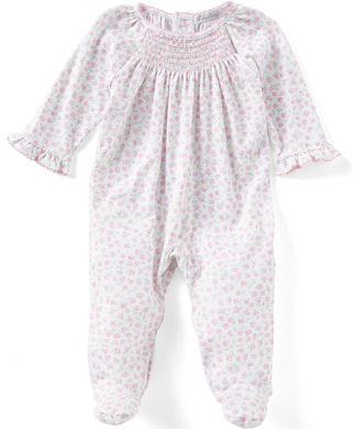 Kissy Kissy Rambling Roses Smocked Footie Playsuit