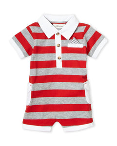 Miniclasix Stripe Collared Romper