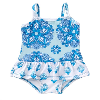 Masala Baby Ruffled India Rose Turquoise One Piece
