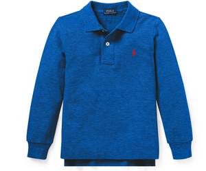 Ralph Lauren Polo Cotton Mesh Long Sleeve Polo Shirt (Sapphire Heather)