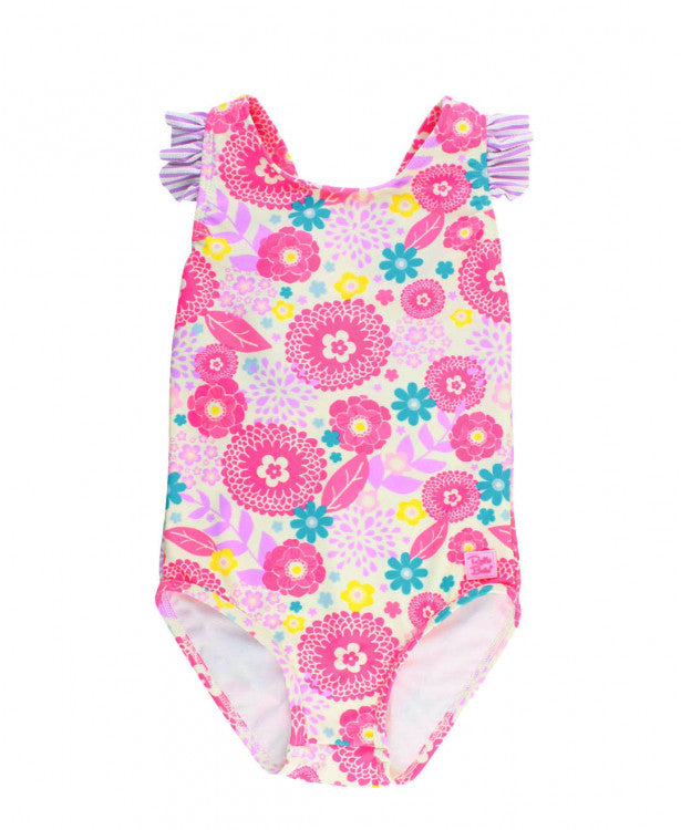 RuffleButts Blooming Buttercups Ruffle Strap One Piece