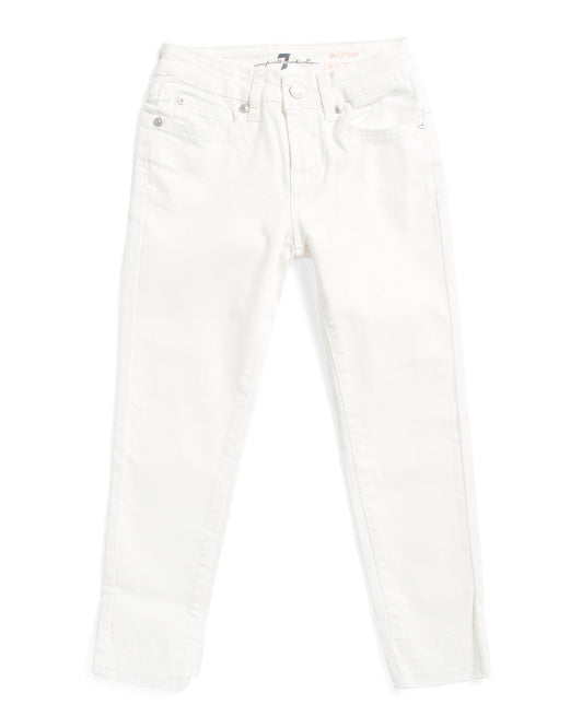 7 For All Mankind White Skinny Ankle Raw Edge Jeans