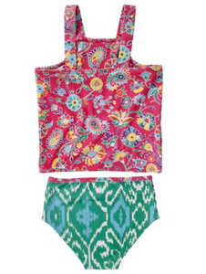 Masala Baby Floral Pink Smocked Tankini 2-Piece