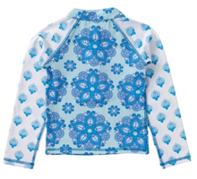 Load image into Gallery viewer, Masala Baby India Rose Turquoise Rashguard Long Sleeves