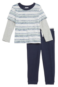Splendid Reverse Stripe T-Shirt & Jogger Pants Set