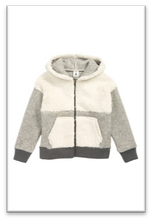 Load image into Gallery viewer, Stem Shaggy Colorblock Fleece Hoodie (White and Grey)