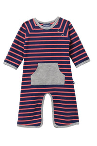 Toobydoo Striped Kangaroo Pocket Jumpsuit
